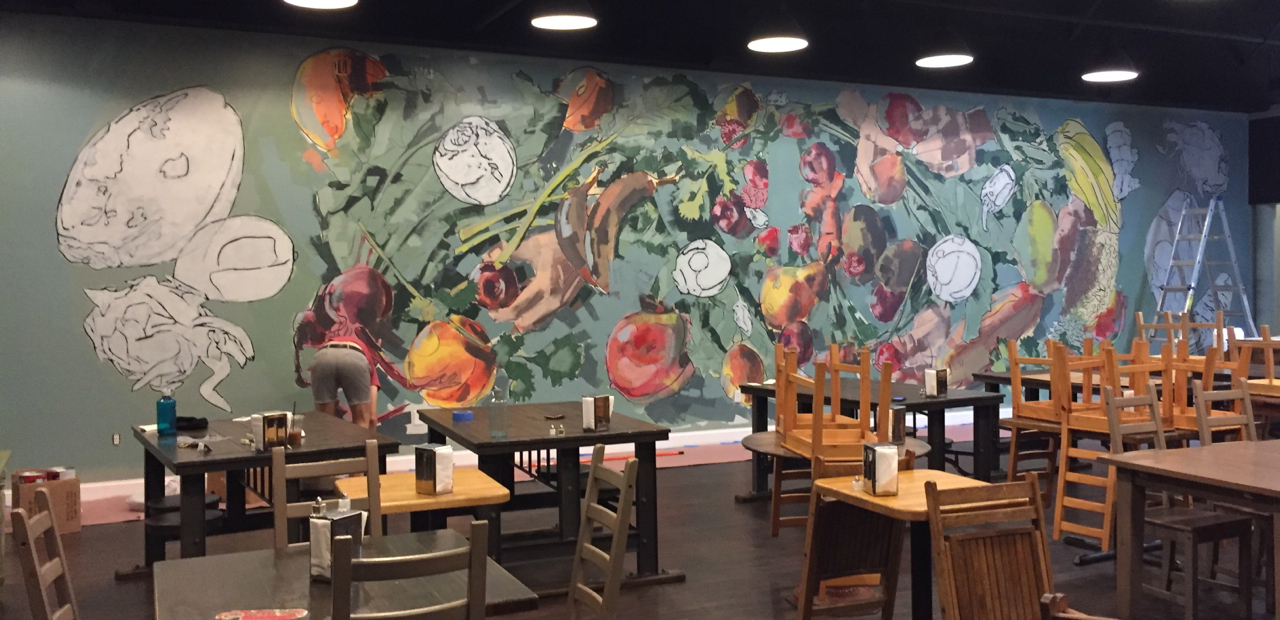 We always knew we would add to the mural design once it was started. We added fruits and veggies to the sides and central parts of the design.