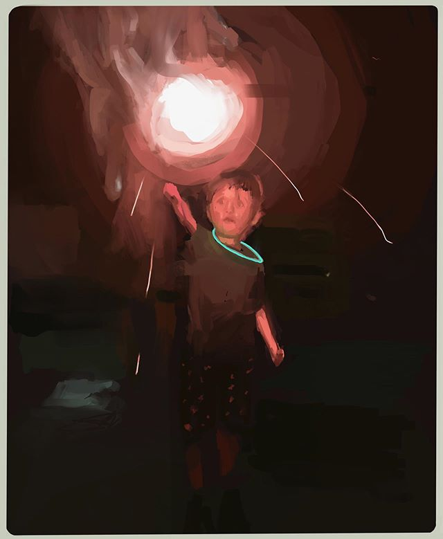 Nephew and a sparkler.  #lowkey #contrast #drawing #digitalpainting #ipadart #procreate #creative #sparkler #blackcanvasart #art #study #subtlemixes #hashtag