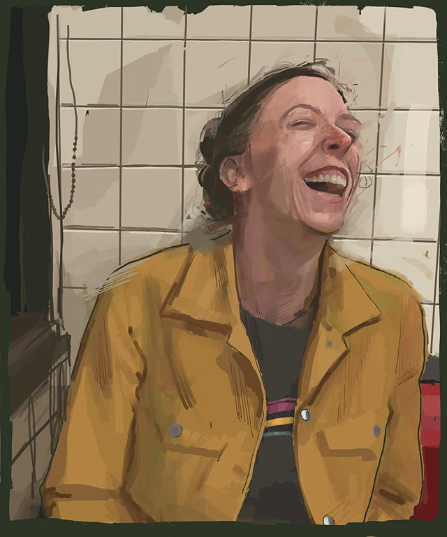 Krista at Waffle House.  #wafflehouse#ipadpainting #study #digitalpainting #brushstrokes #creativepractice #portraitpainting #laughter #art #artwork #procreatedrawing #sister