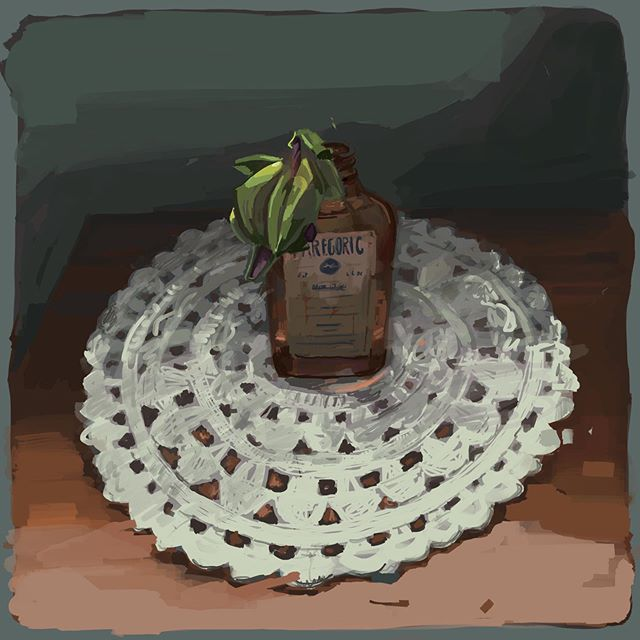 What does it say when the Passion Flower dies once plucked from the vine? #stilllife #passionflower #doily #opiumbottle #ipadart #study #artwork #procreate #digitalart