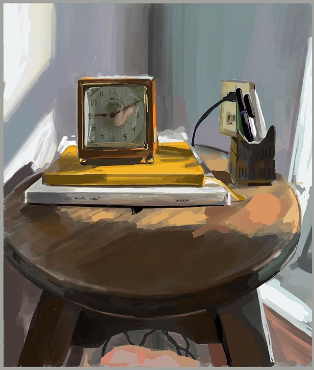 Grandmother's clock on Sarah's grandfather's stool. And our collaboration stacked between the two.  #procreate #paintingstudy #ipadart #stilllife #artist #process #practice #painting #messfreepainting
