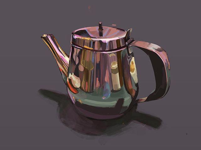 Our favorite Vietnamese through the lens of the jasmine teapot. #tudovietnameserestaurant #painting #kindofpainting #digitalpainting #procreate #teapot #stilllifepainting #artishard
