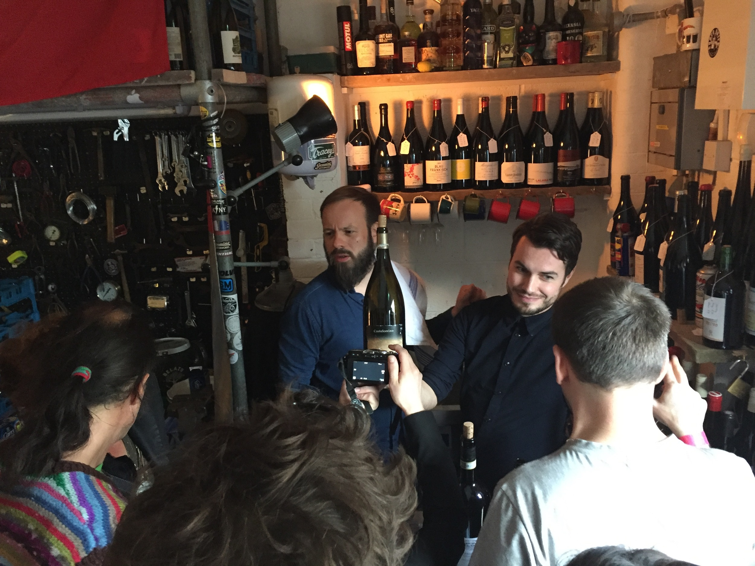 Jan Hugel of Wild Things (Berlin) & Mark Andrew of Noble Rot (London) pouring wine on Sun 15 May 2016.