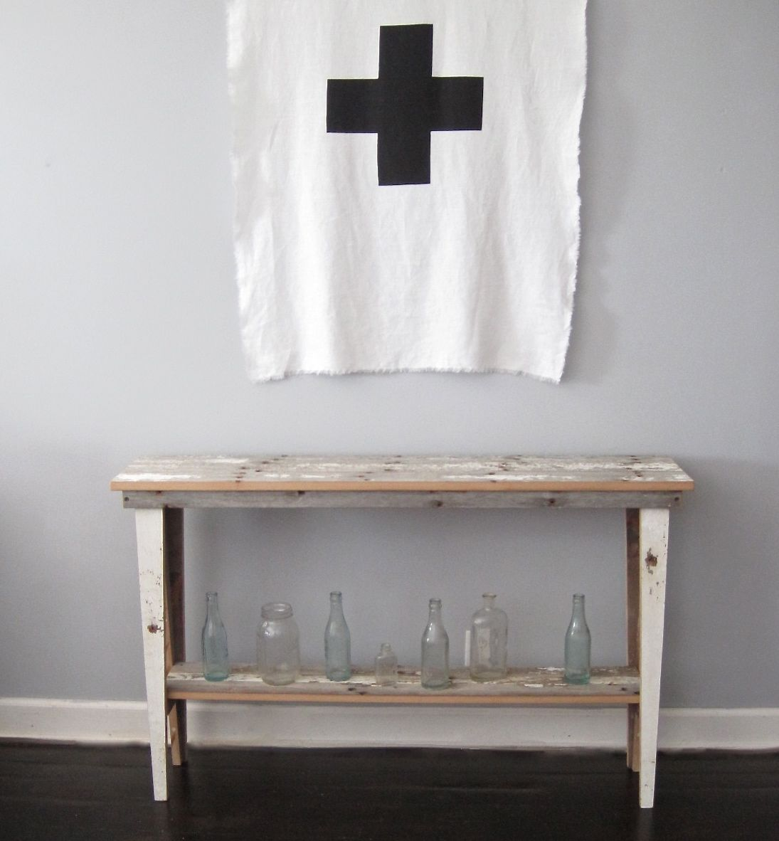 Console table from reclaimed barn wood