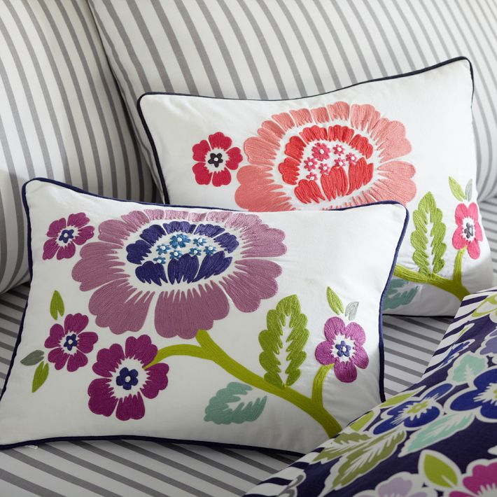 pottery barn teen embroidered pillow cover