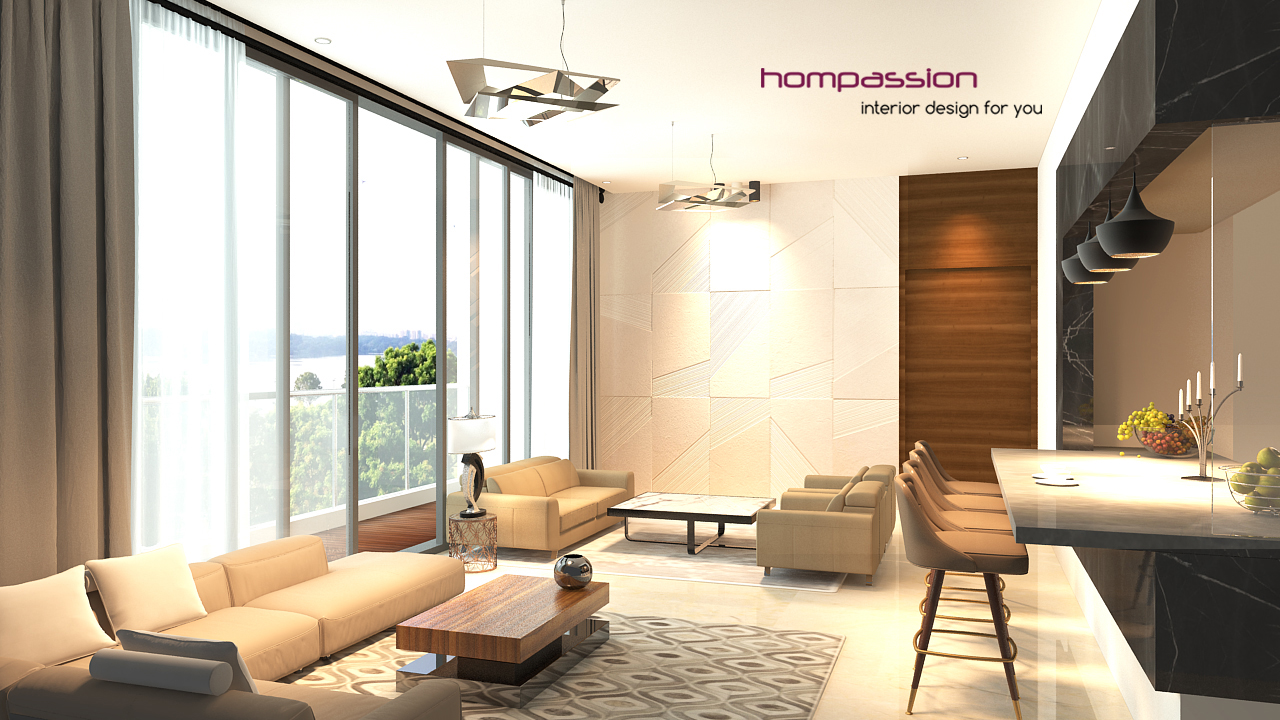 living room with open styled dining & kitchen  At goregaon mumbai 175 sq feet for approx 4000 per sq. ft.