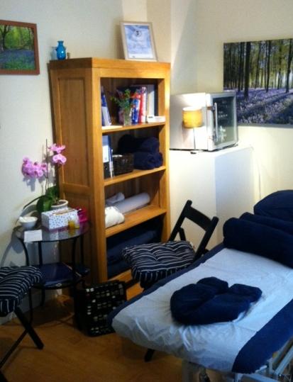 Massage Sanctuary Aromatherapy treatment room in Brimpton