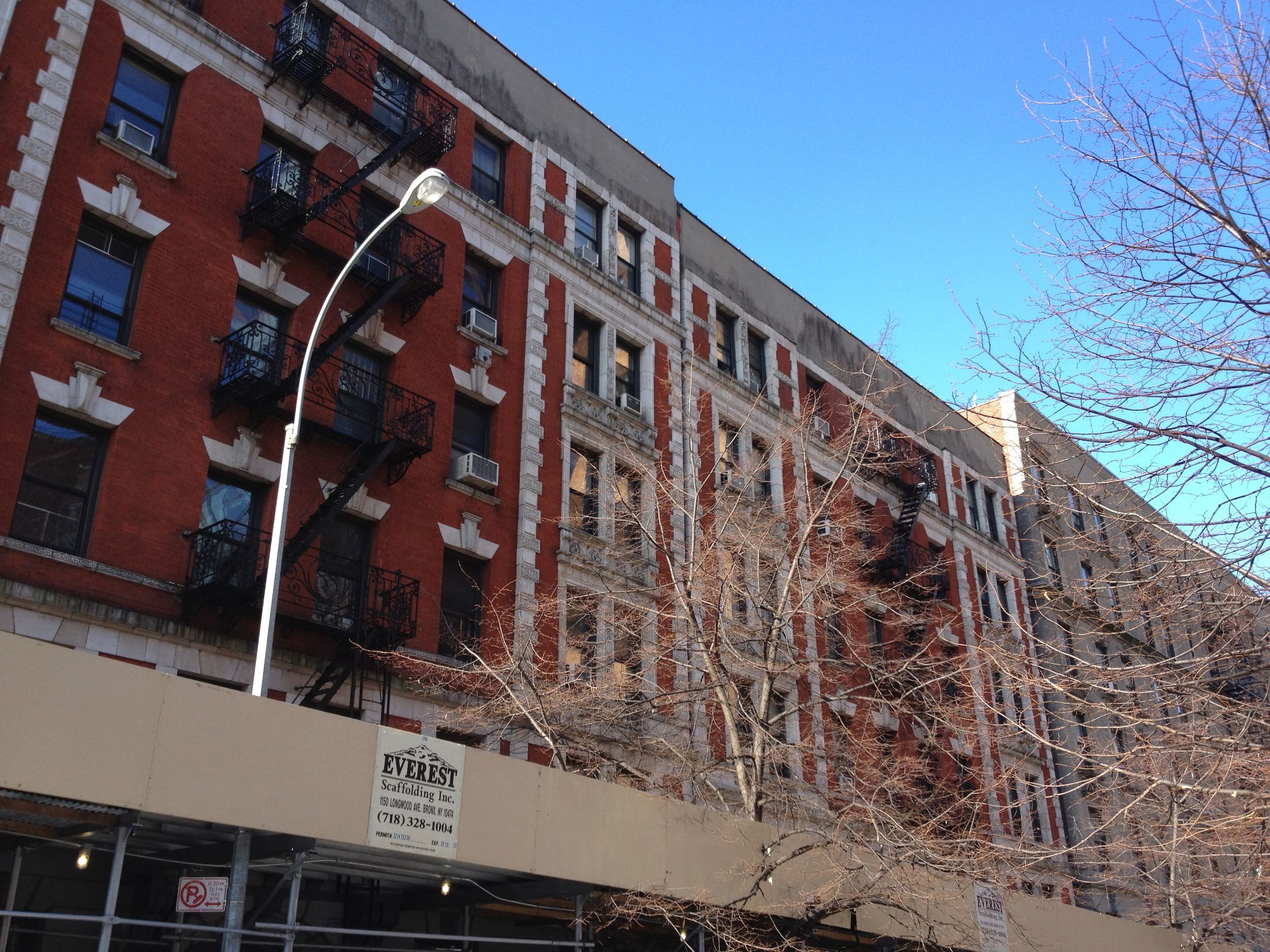 Beginning of facade restoration work at West 99th Street in New York City - Bulado General Contractors Corp.