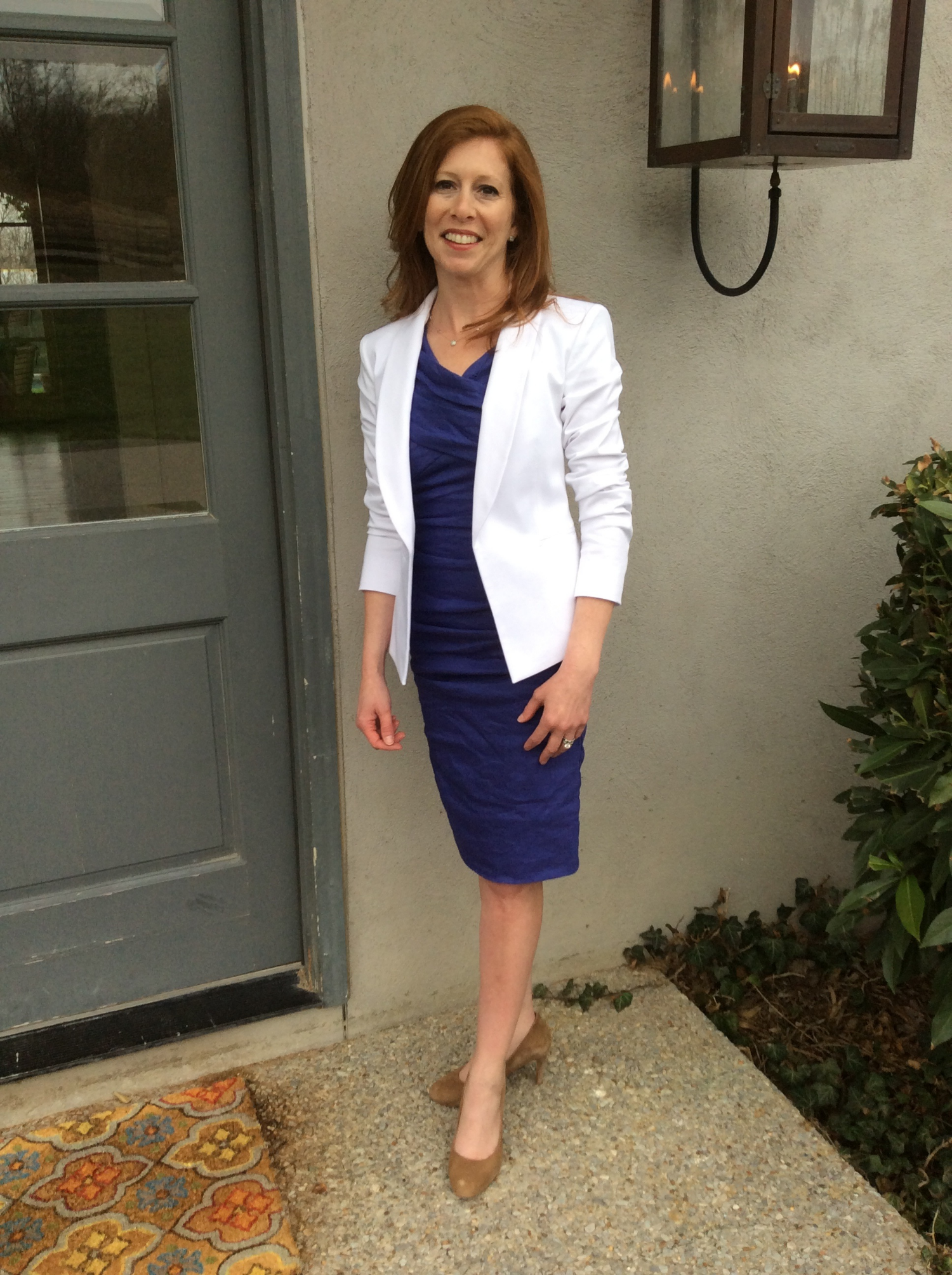 Jan B. wearing a Nicole Miller dress (from  Kiki Risa  in Destin, FL) , Theory white blazer (from Saks Off 5th) and her own heels. Very professional!