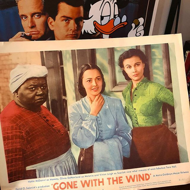 "This rare #GonewiththeWind lobby card will be my first canvas exploring the #Censored11 cartoons. I encourage everyone to google ""Censored 11"". I'm old enough to recall seeing some of that same imagery in cartoons as a child ... smh ..."
