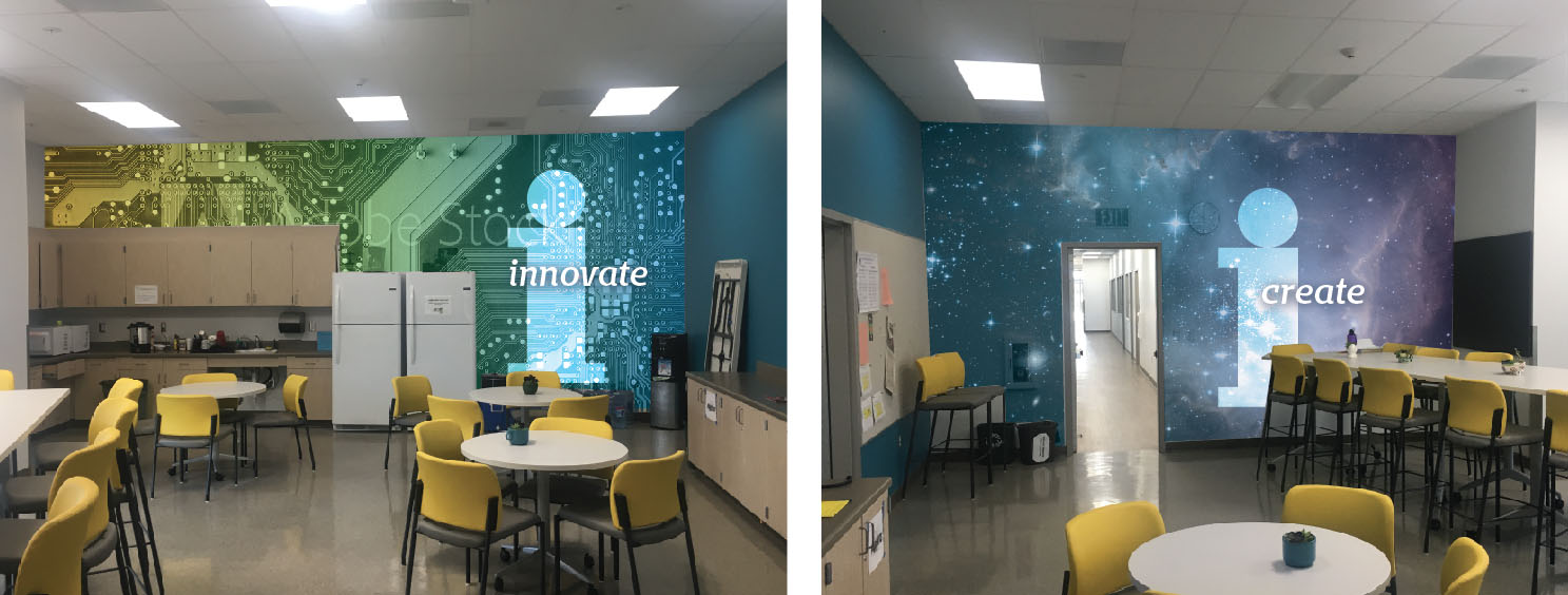 Innovation Middle School lounge interior graphics