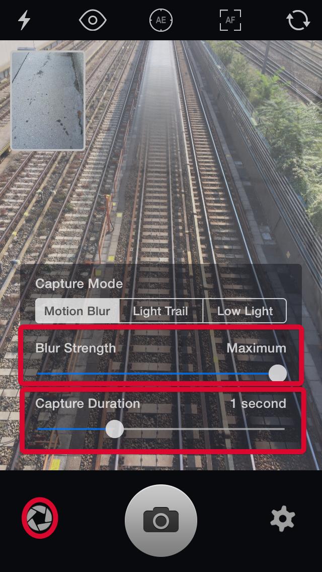 Settings for motion blur in Slow Shutter Cam App