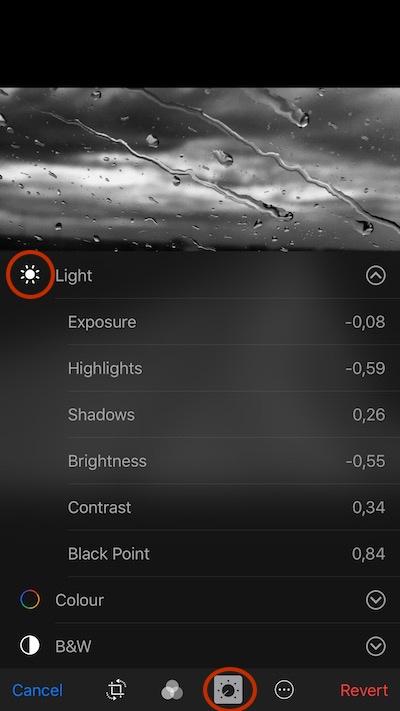 Adjust light settings with photos app
