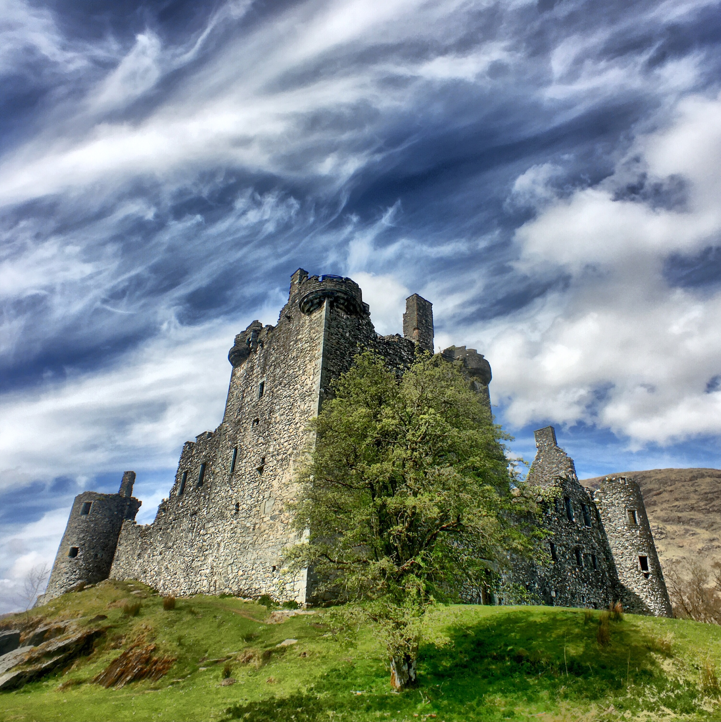 HDR of Kilchurn Castle in Scotland on a cloudy day photographed with ProCamera