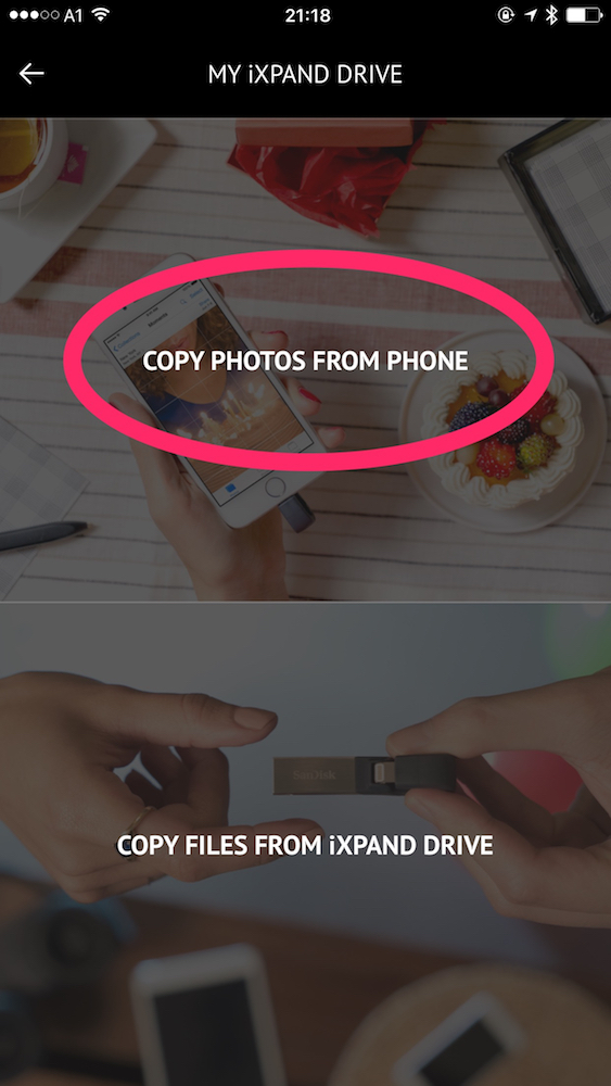 "Chose ""Copy Photos from Phone"""