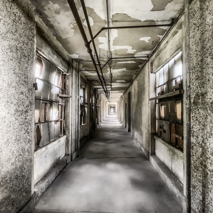 One of the endless hallways of the abandoned Immigrant Hospital at Ellis Island