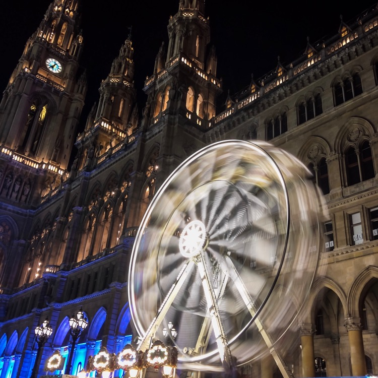 Long exposure of a small Ferris wheel in Vienna. Taken with Slow Shutter Cam App