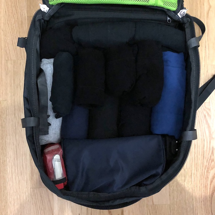 Osprey farpoint 40 packed for five days: Tripod, skivvies, t-shirts, first aid kit (with carry on compliant knife and charger, toiletries