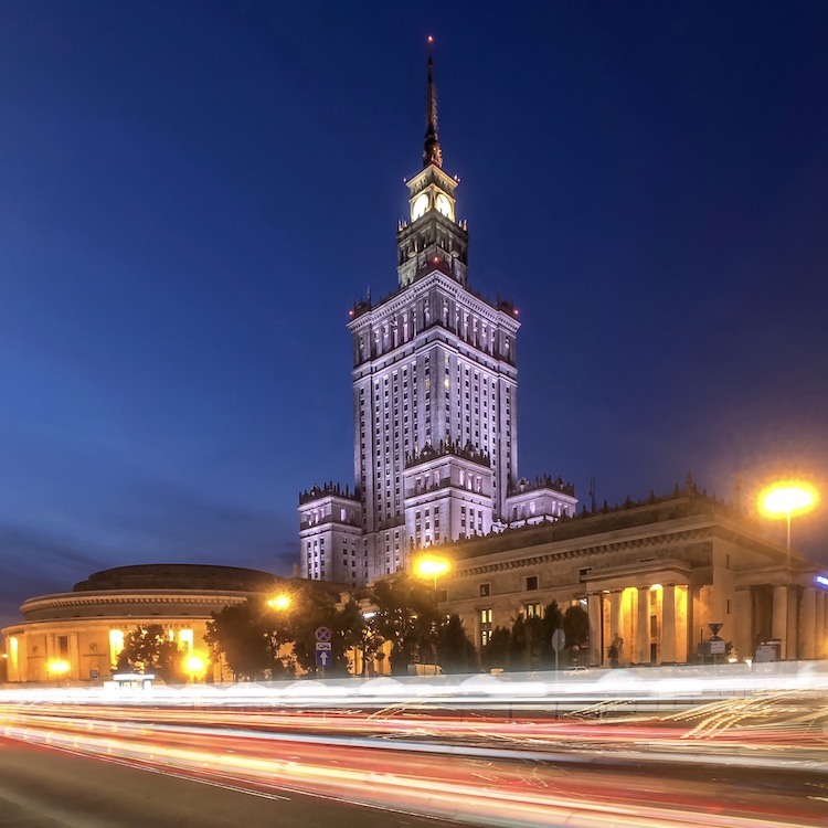 Long exposure of the Palace of Culture using Slow Shutter Cam App