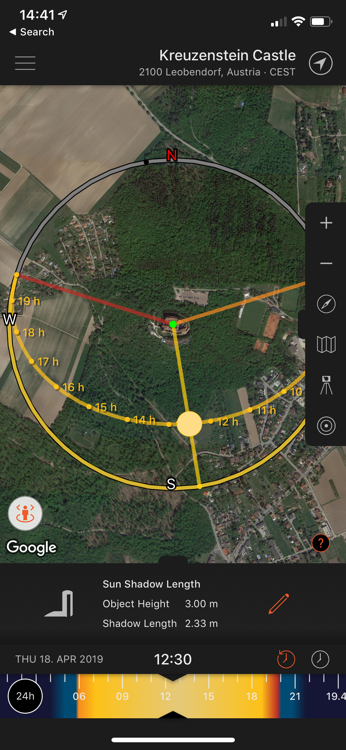 Determining best light using Sun Surveyor App
