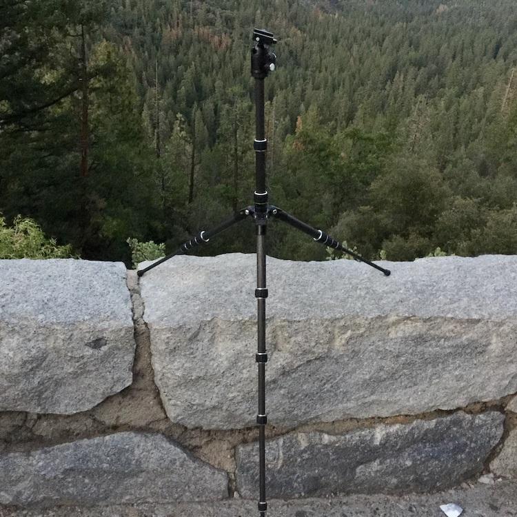 AmazonBasics Travel Tripod on stone wall in Yosemite
