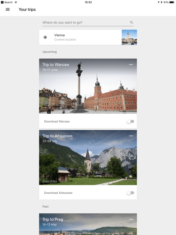 Creating a trip in Google Trips