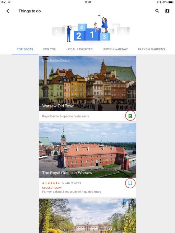 Bookmarking locations in Google Trips