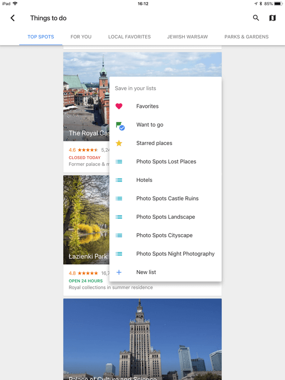 Select a list for a bookmark in Google Trips