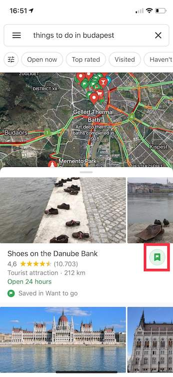 Save Places  feature from Google Trips in Google Maps.