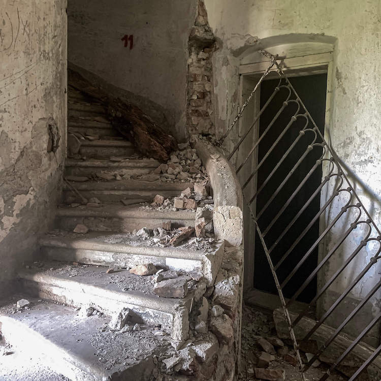 Stairs in abandoned castle in Lower Austria