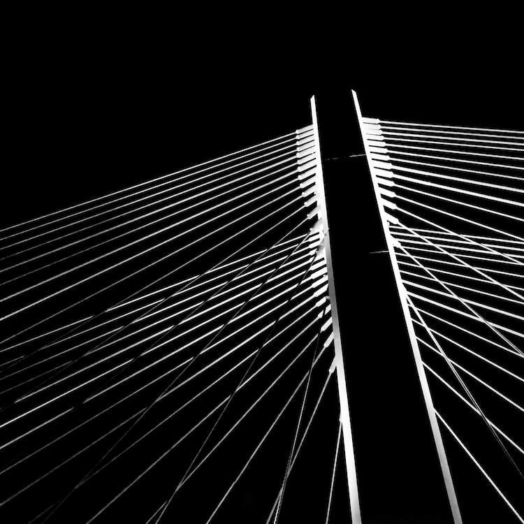 Black and White Baserab bridge in Bucharest, Romania