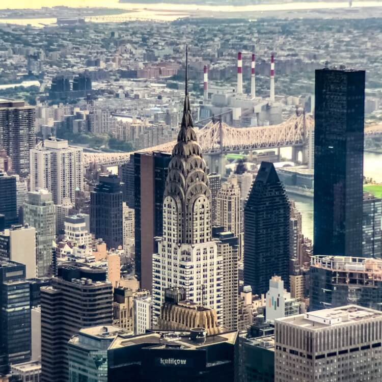 """Chrysler Building photographed from """"Top of the Rock"""" with iPhone 2x Zoom + Moment Tele using ProCamera App."""