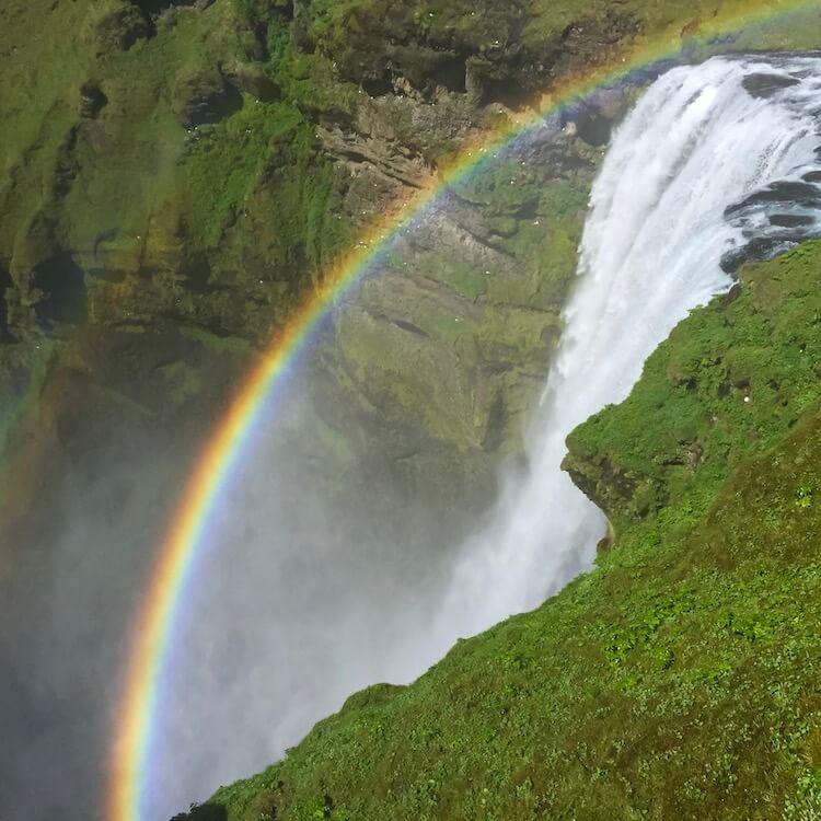 Rainbow at Skogafoss in Iceland