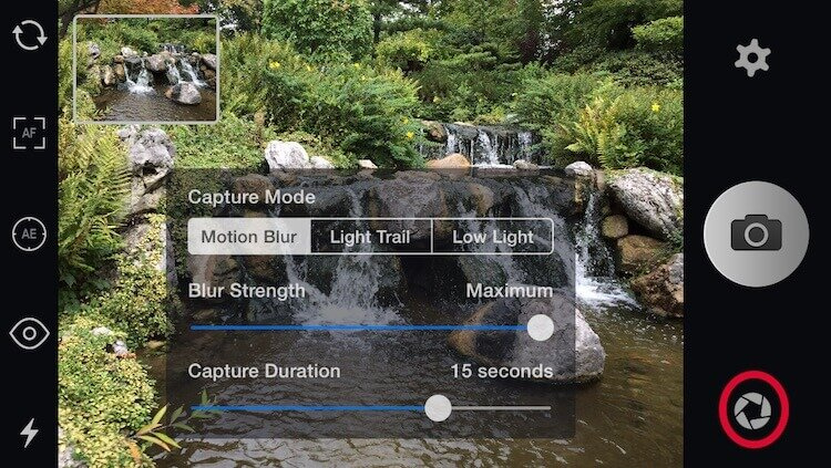 Slow Shutter Cam App shooting modes