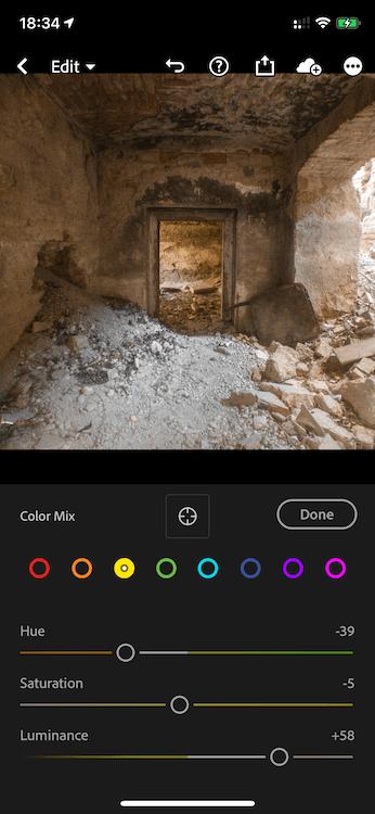 Adjustier Colors in Lightroom Mobile