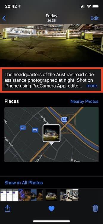 iOS 14 caption in Photos App