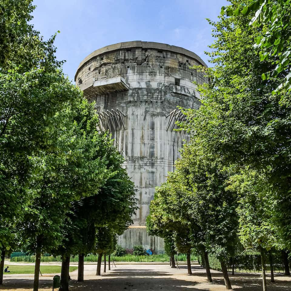 The combat flak tower at Augarten. Notice the cables around the top