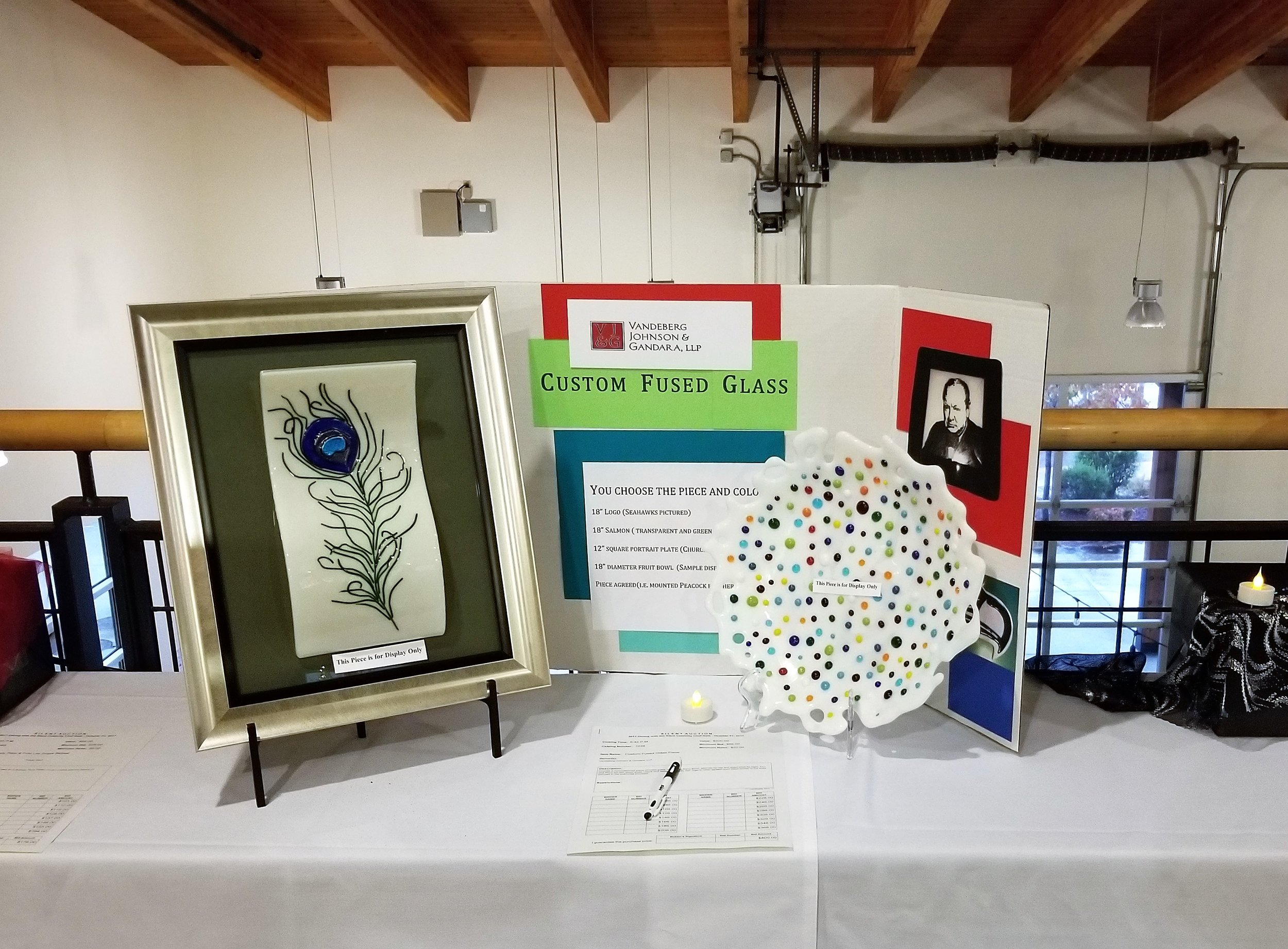 Kerry Brink donated her artistic talents to the silent auction by offering a custom infused glass art piece.