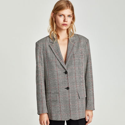 Zara  Button Checked Blazer $69.90