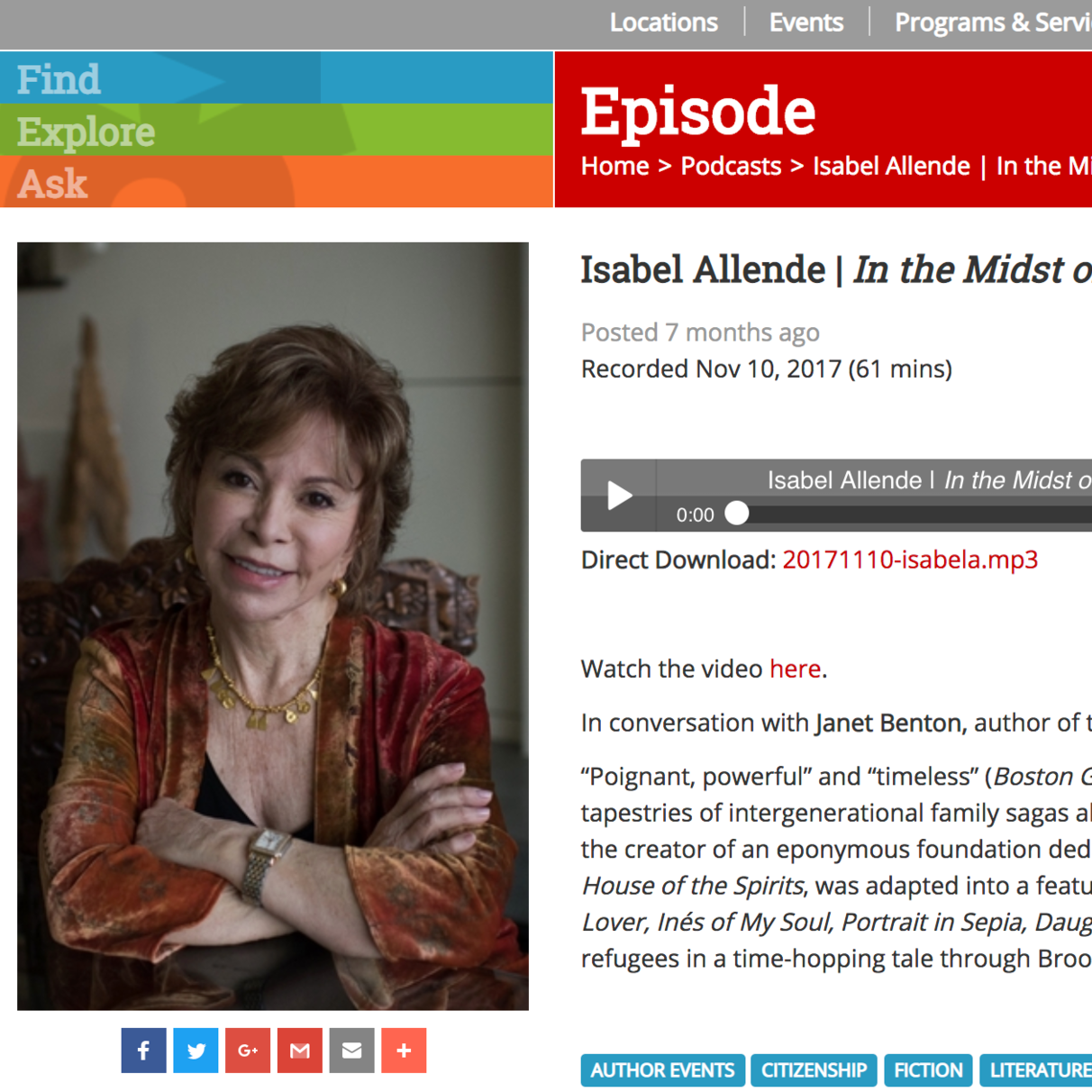 Isabel Allende    In the Midst of Winter   Interview conducted by Janet Benton for the Free Library of Philadelphia