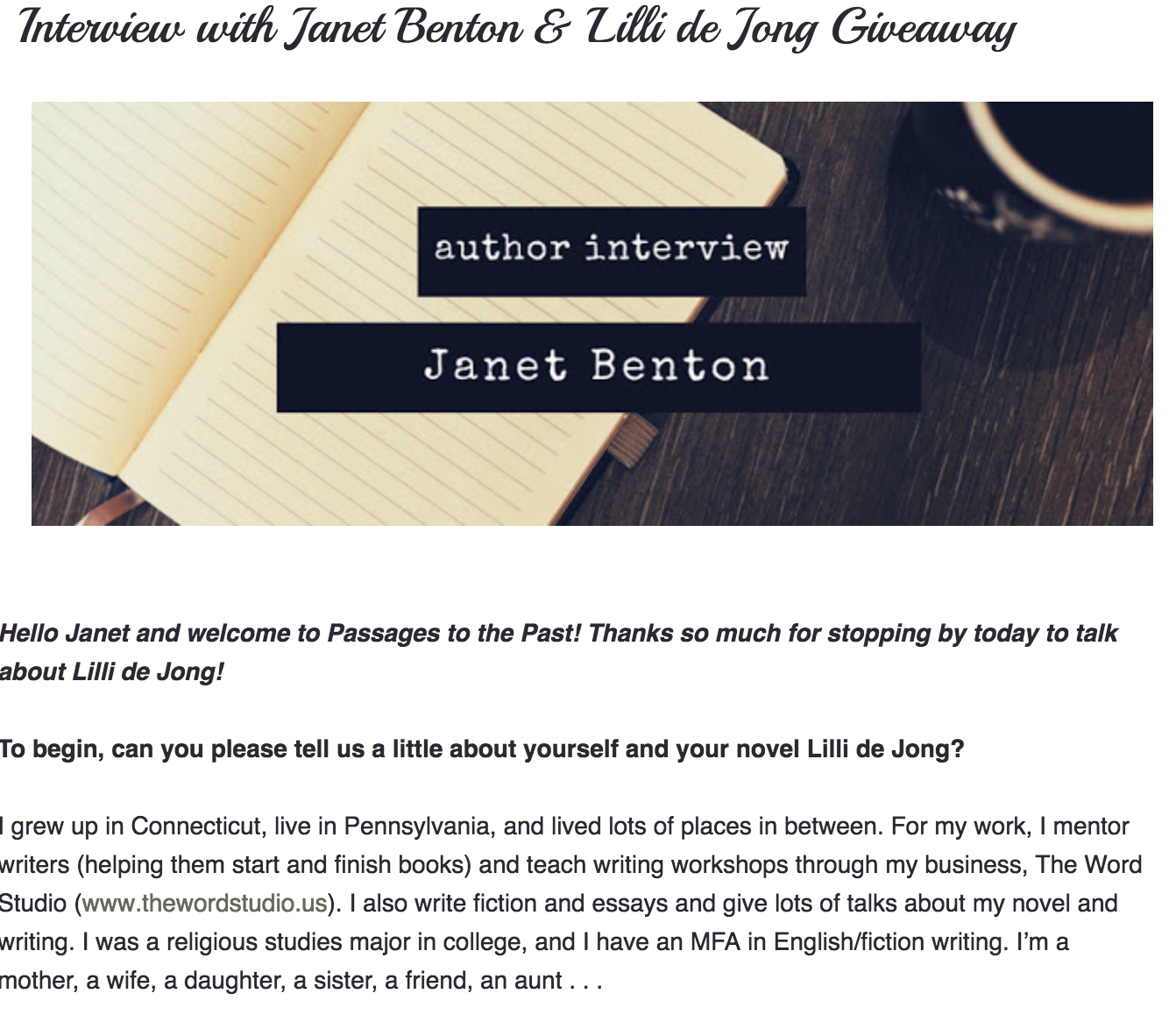 Interview with Janet Benton & Lilli de Jong Giveaway  By Amy Bruno for  Passages to the Past