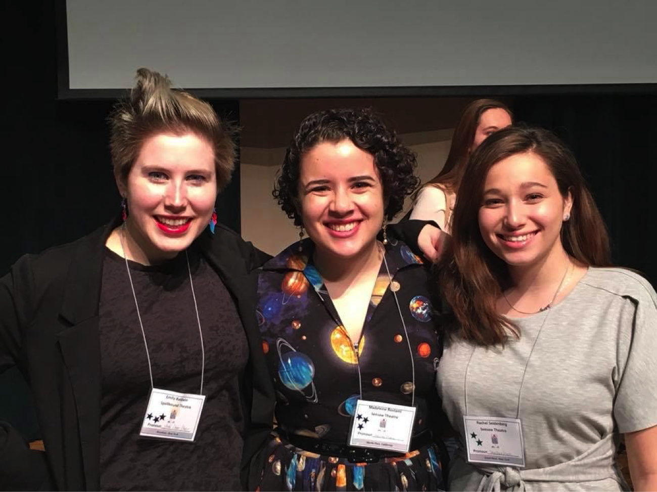 Emily Baldwin, Madeleine Rostami, and Rachel Seidenberg at AATE's annual symposium.