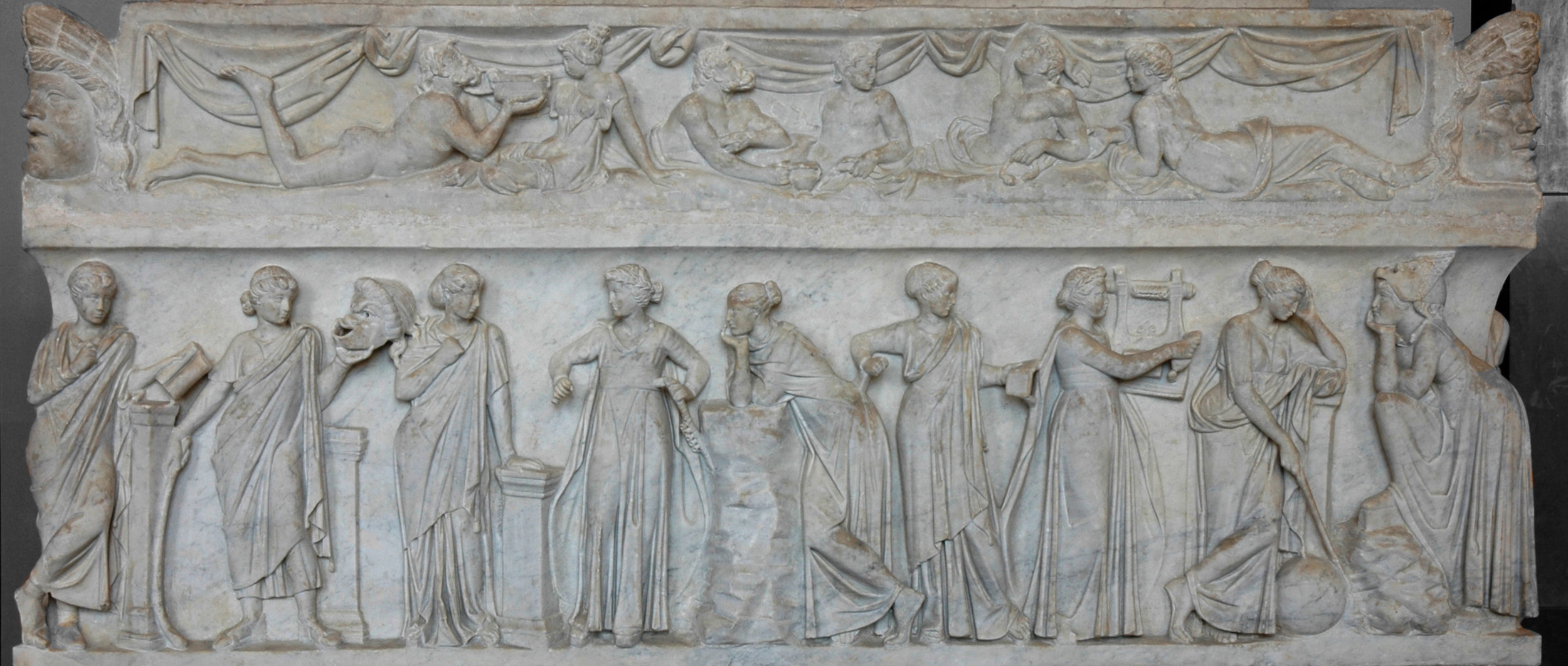 ANCIENT Greek sarcophagus of  the nine muses