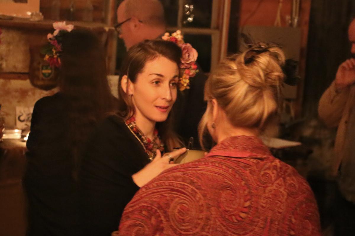 Sarah speaking with artist Katie Swatland