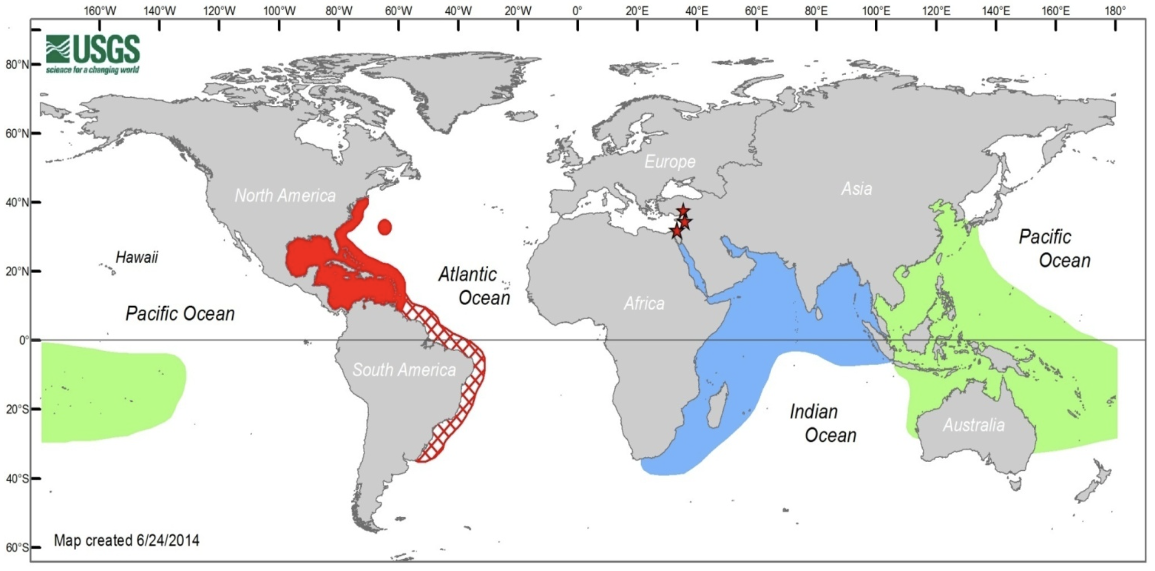Global distribution of lionfish. The red lionfish and the devil firefish have different native ranges (green and blue respectively). Both species are present in the invasive range (red), although the red lionfish dominates. Stars represent sightings of P.miles in the Mediterranean. Hatching represents the predicted future distribution of lionfish.   (source:USGS-NAS)