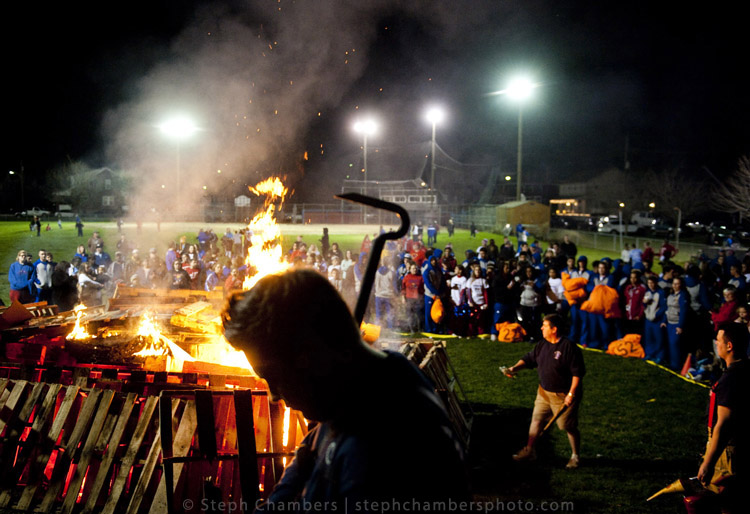 The city of Jeannette rallies around its football team with a bon fire on Friday, Nov. 27, 2015 at the West Jeannette baseball field. Jeannette plays Clairton tomorrow for the WPIAL Class A championship at Heinz Field.