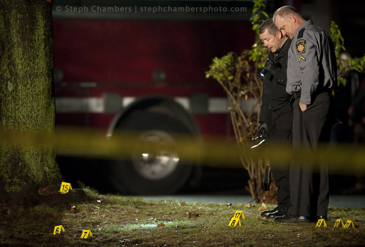 Police investigate the scene of St. Clair Township police office Lloyd Reed's death at 131 Ligonier Street in New Florence on Sunday, Nov. 29, 2015.