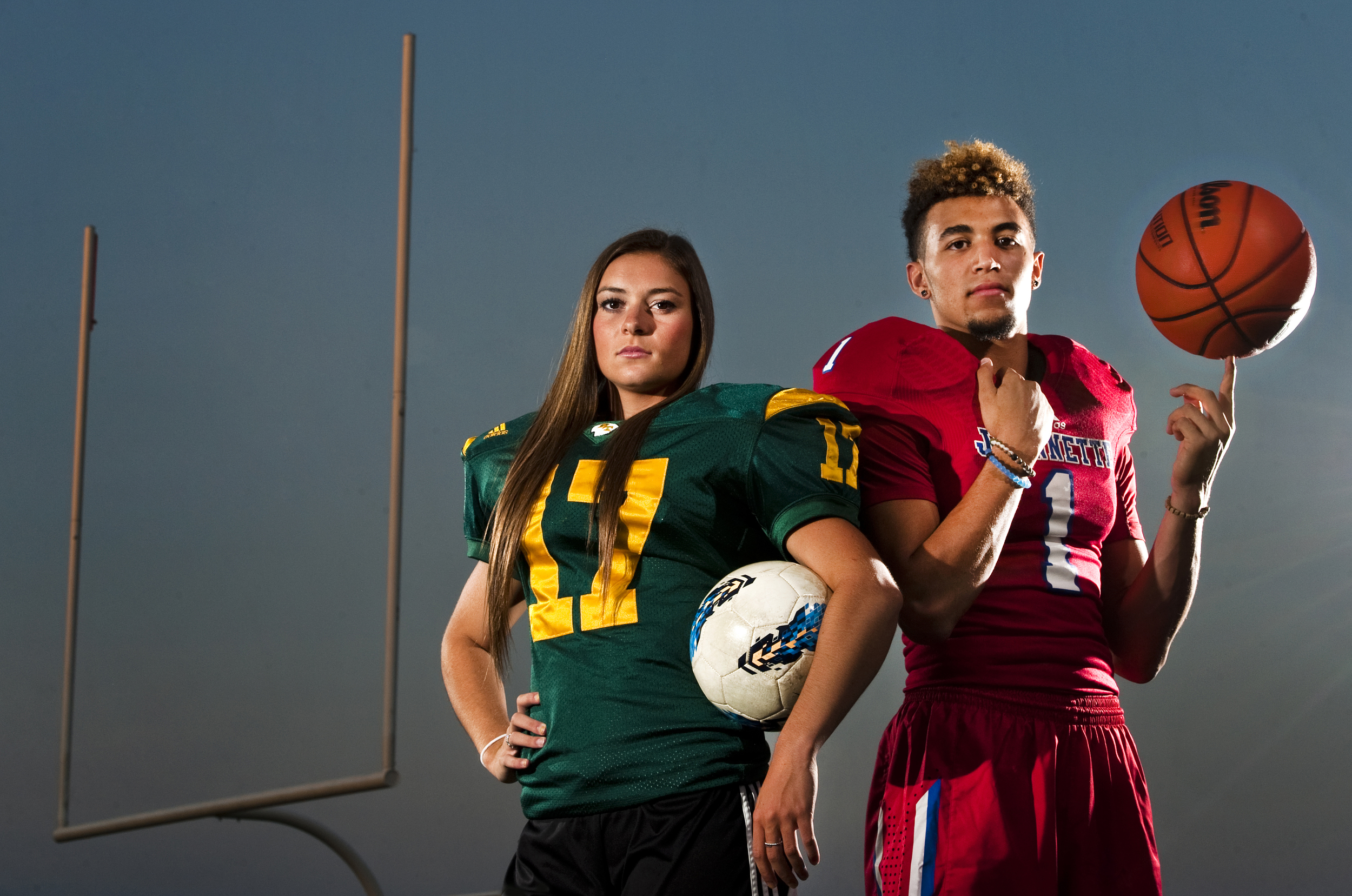 Penn-Trafford's Casey Aunkst and Jeannette's Julian Batts, the Tribune-Review's Athletes of the Year, are photographed on Wednesday, July 1, 2015 at Penn-Trafford High School. Aunkst, who will be playing soccer at Duquesne University, holds the school record for football field goals, basketball all-time assists and was named all-state for soccer. Batts, who will be playing basketball at a junior college in Connecticut, is the school's second all-time leading scorer and a star quarterback.