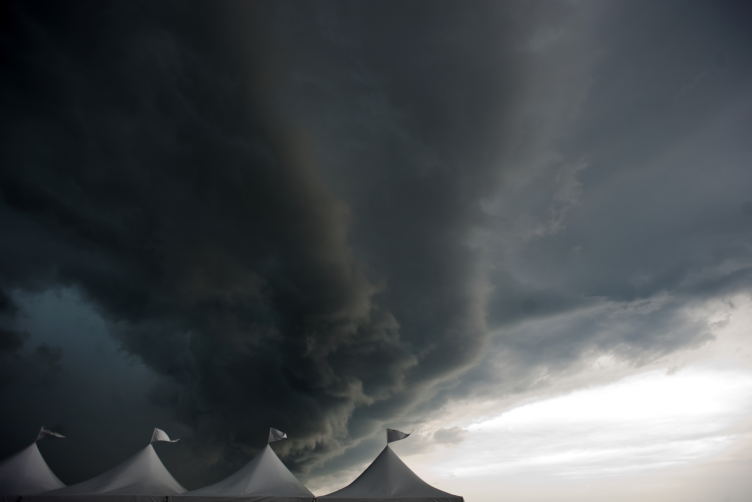 A storm moves in after the first day of the Westmoreland County Air Show at the Arnold Palmer Regional Airport near Latrobe on Saturday, June 20, 2015. The expected storms held off for the entire air show.