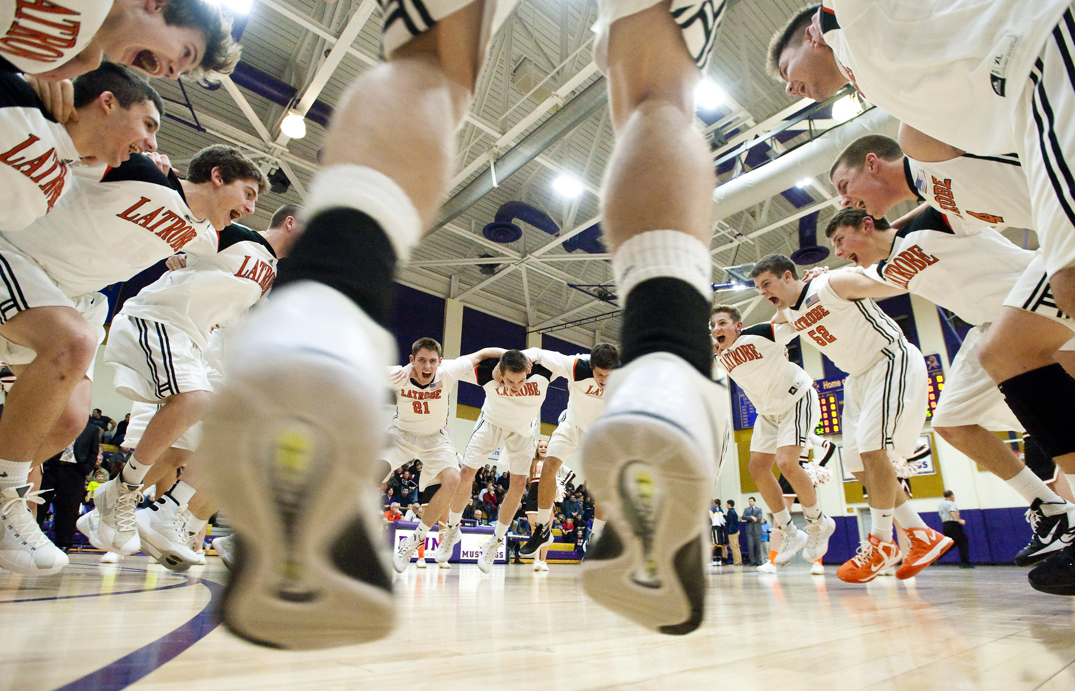 Latrobe amps up before playing against Mt. Lebanon during a WPIAL Class AAAA first round basketball game on Thursday, Feb. 18, 2016 at Plum High School. Latrobe won 72-55.
